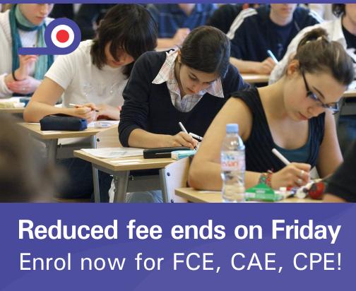 Aviso por tarifas reducidas para exámenes internacionales